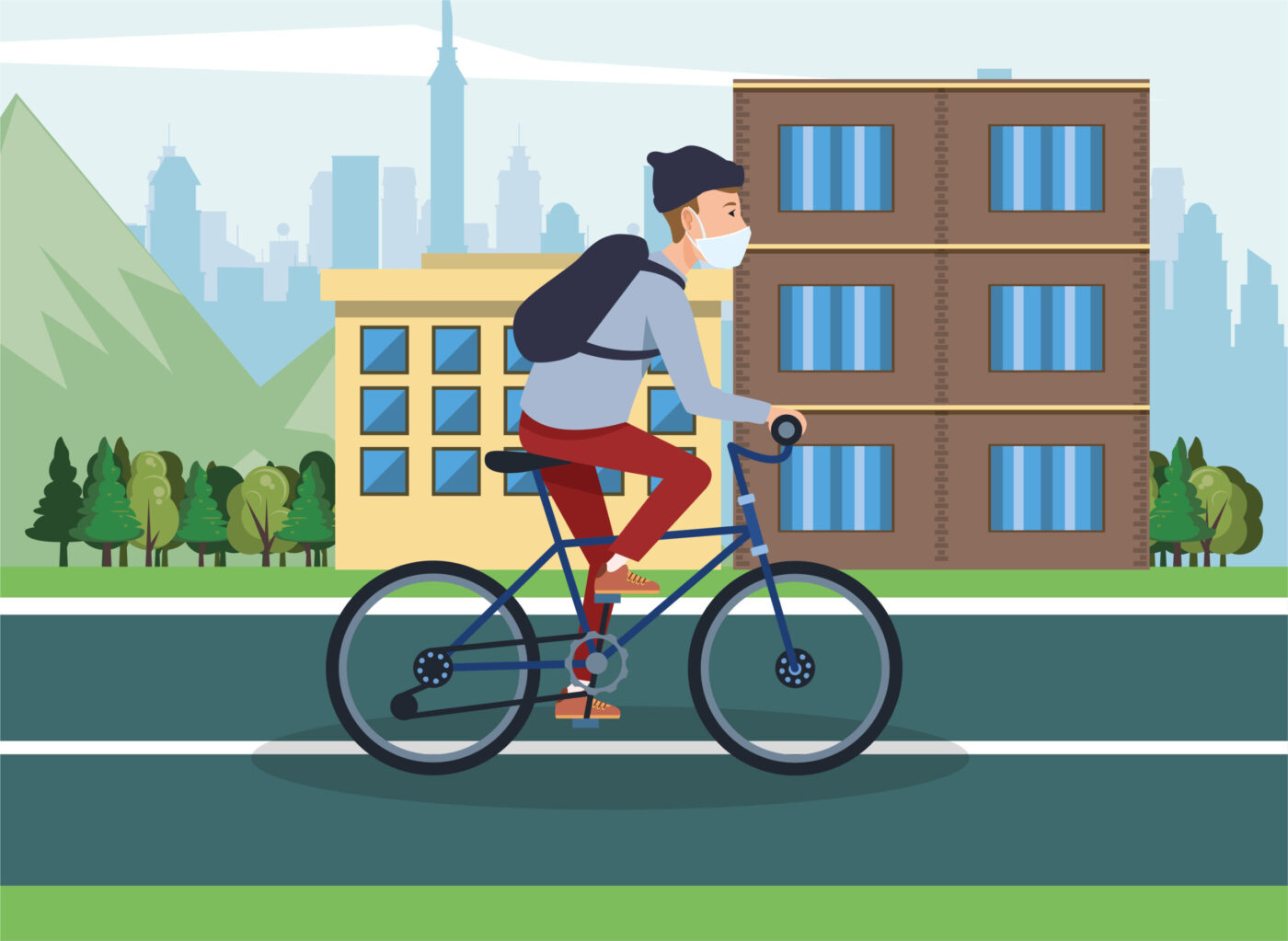 man using face mask in bicycle vector illustration design